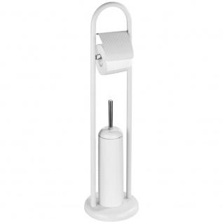 Toilettenpapierhalter und WC-Bürste mit geschlossenem Behälter, Stahlbadezimmer - WENKO