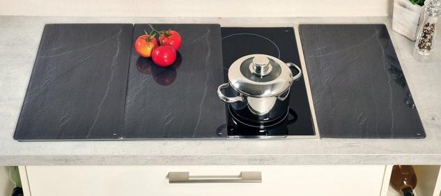 Hitzebeständige Küchenscheiben Set aus drei Schneidebrettern aus gehärtetem Glas - Kesper