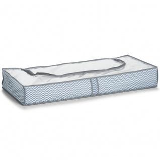 Zeller Unterbett-Aufbewahrungs-Tasche, Vlies, ca. 103 x 45 x 15 cm, weiß/grau