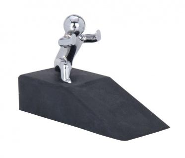 WENKO, 2xTürkeil Hercules - Gummi / Stahl, 10 x 6.5 x 4 cm, schwarz / chrom