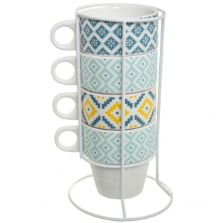 Set mit 4 Tassen im Azteken-Style komplett mit Ständer