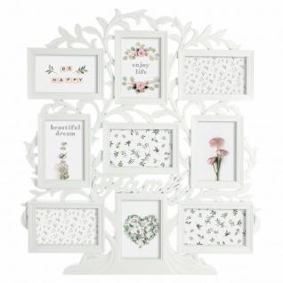 Bilderrahmen für 9 Fotos, Baum, Weiß, Glas, weiß, L. 53 x l. 1, 8 x H. 60 cm
