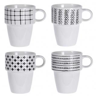 Set Porzellan Becher auf Ständer, 4 weiße Kaffeetassen mit modernem Design