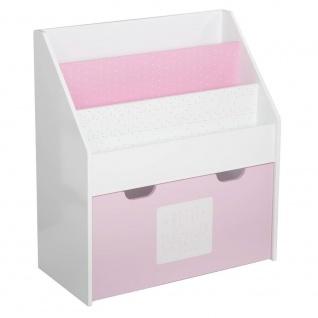 2 in 1: Bücherregal + Kiste mit Stauraum aus Holz, für Kinder - Farbe ROSA und WEIß