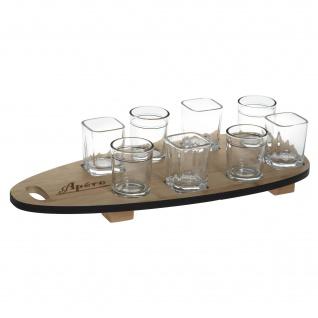 Servier-Set, 8 Gläser mit Holztablett