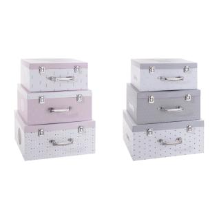 Set von 3 Koffer, Lagerbehälter - graue Farbe, Atmosphera Créateur d'intérieur