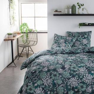 Bettwäsche-Set beidseitig, 220 x 240 cm, grün mit Blumen-Muster