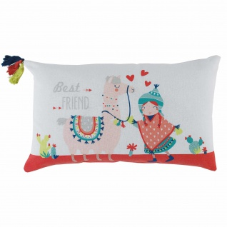 Kissen, Kompresse, Pompons, 30 x 50 cm, Baumwolle, Bedruckt, Motiv: Happy Lama Platz - Douceur d'intérieur