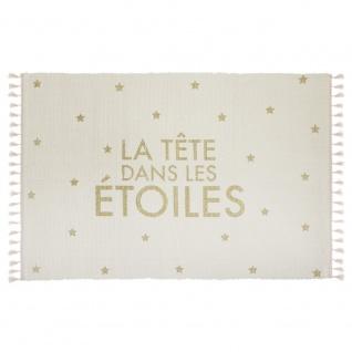 Teppich mit Fransen, Teppich in den Sternen für Kinderzimmer, 60 x 90 cm rosa