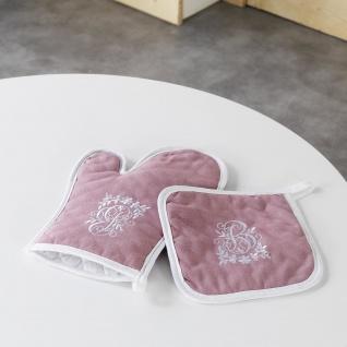 Ofenhandschuh + Topflappen 19 x 28 cm/18 x 18 cm gesticktem Glück, Polyester, Rosa/Weiß, 28 x 20 cm - Douceur d'intérieur