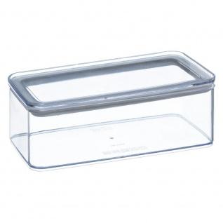 Transparenter rechteckiger Lebensmittelbehälter mit versiegeltem Deckel, 1 Liter Fassungsvermögen