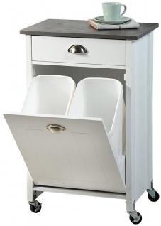 Weißer Küchenwagen mit Abfallentsorgungskorb, praktischer und stilvoller Küchenhelfer - Kesper