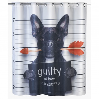 WENKO Anti-Schimmel Duschvorhang Guilty Dog Flex Polyester, 180x200cm, waschbar >
