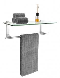 WENKO Badregal aus gehärtetem Glas, Wandrahmen mit Handtuchhalter aus Stahl, 24, 5 x 18, 5 x 60 cm