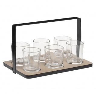 Aperitif-Set, 7-teilig, 1 Tablett aus Bambus und 6 Gläsern aus Glas - Secret de Gourmet