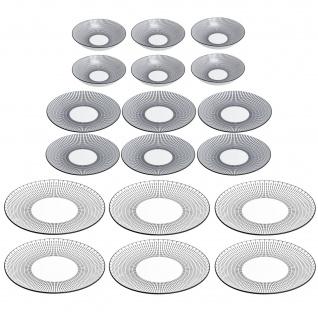 Geschirr-Set aus Porzellan LUNIS, 18 Stück, schwarz-weiß