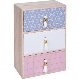 Schubladenboxen Minikommode aus Holz mit 3 Schubladen (27 x 10 x 10 cm) Aufbewahrungsbox - Home Styling Collection