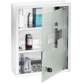 Dreistufiger Medizinschrank, Aufhänger Erste-Hilfe-Kasten mit Schlüssel - 30 x 12 x 40 cm, WENKO