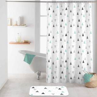 Duschvorhang MADDY, 180 x 200 cm, weiß mit Dreiecken