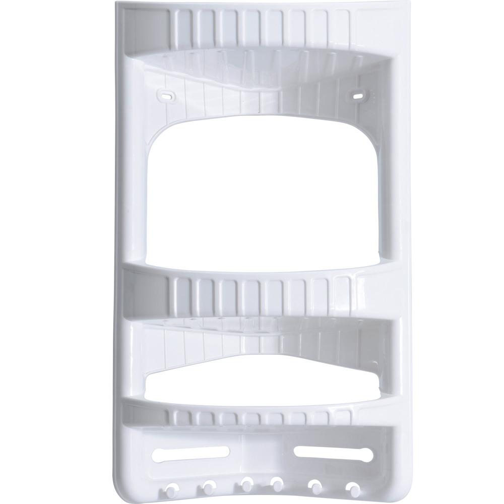 Eckregal für Badezimmer CADDY, Duschregal, 3 Ablagen und 6 Haken, 28 x 17,  5 x 45 cm