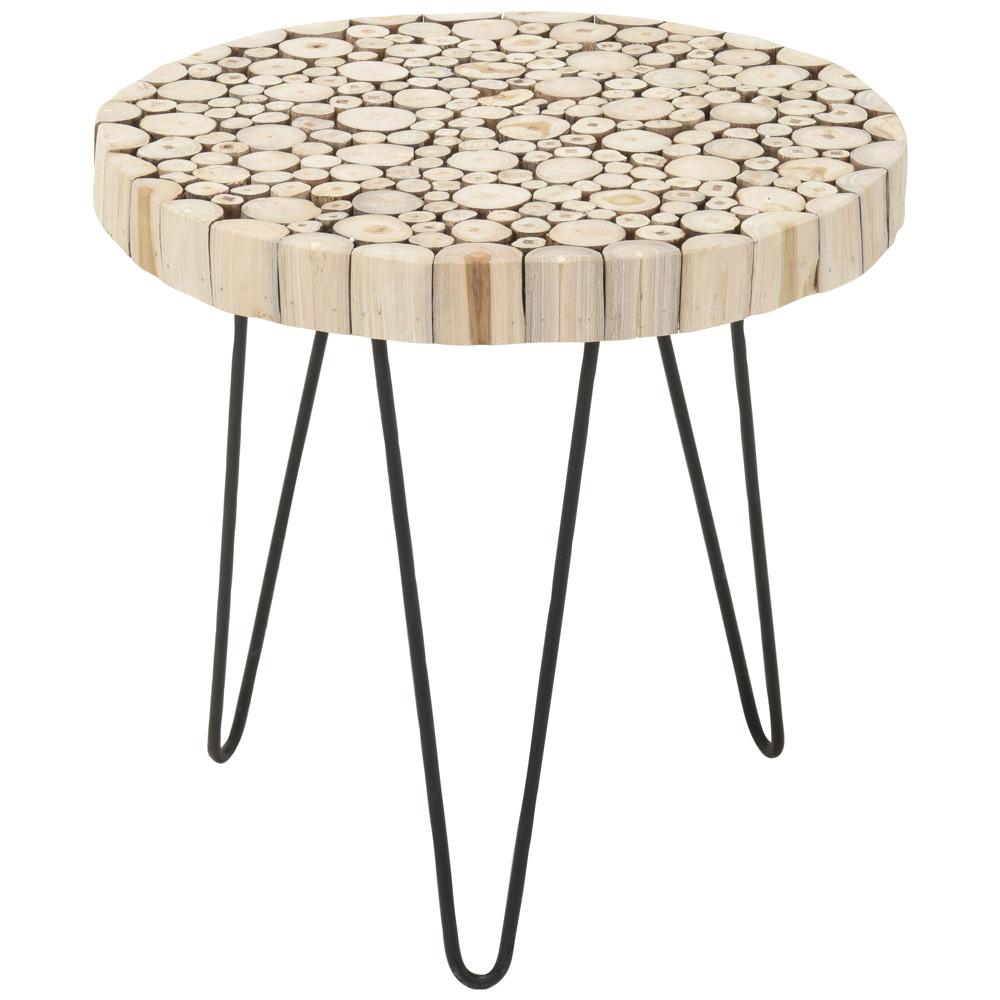 Tisch 50 Cm.Beistelltisch Tisch Aus Natürlichem Teakholz Rund Kaffee ø 50 Cm