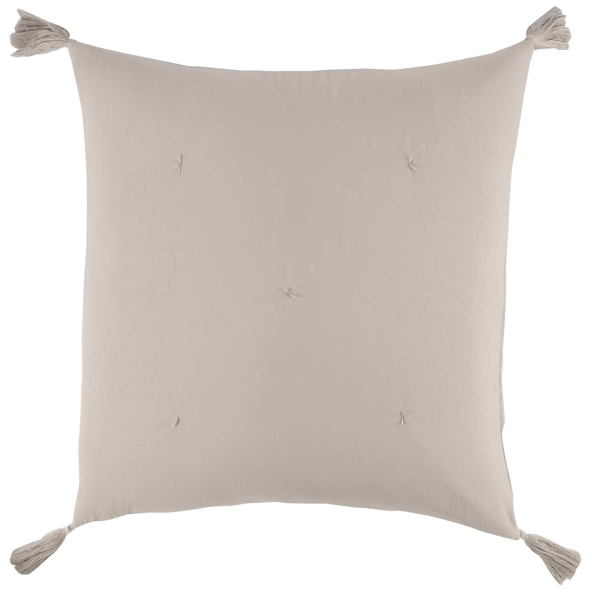 Déco-de-Maison Kissenbezug, 60 x 60 cm, Mikrofaser, mit Dune Pompons -  Douceur d\'intérieur