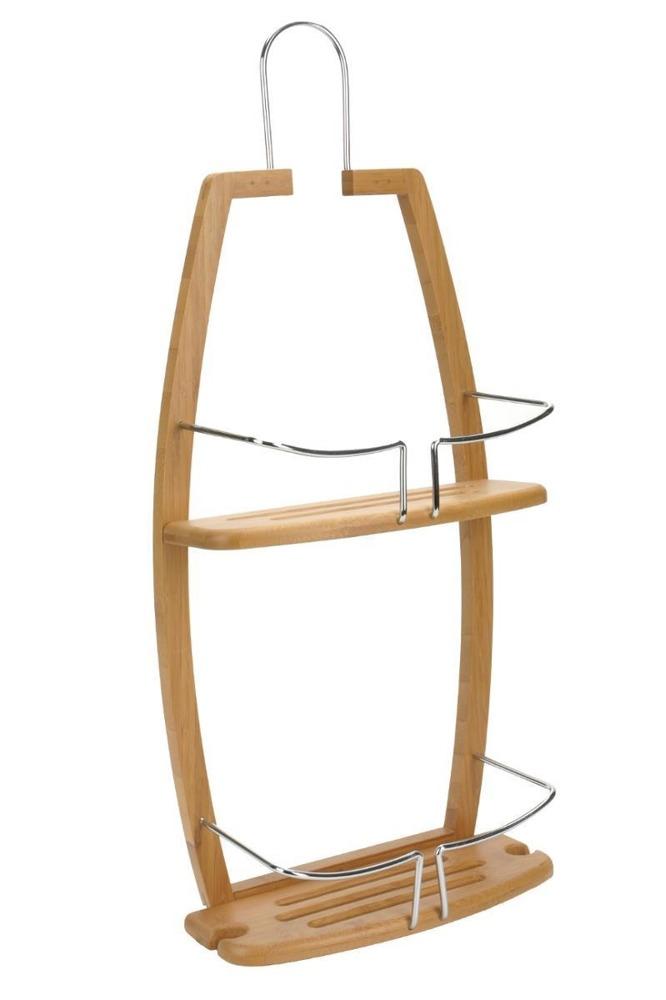 Duschregal für Badezimmer, Ablage, Hängeregal, Wandregal, Bambus und Metall  - 2 Ebenen, 5five Simple Smart
