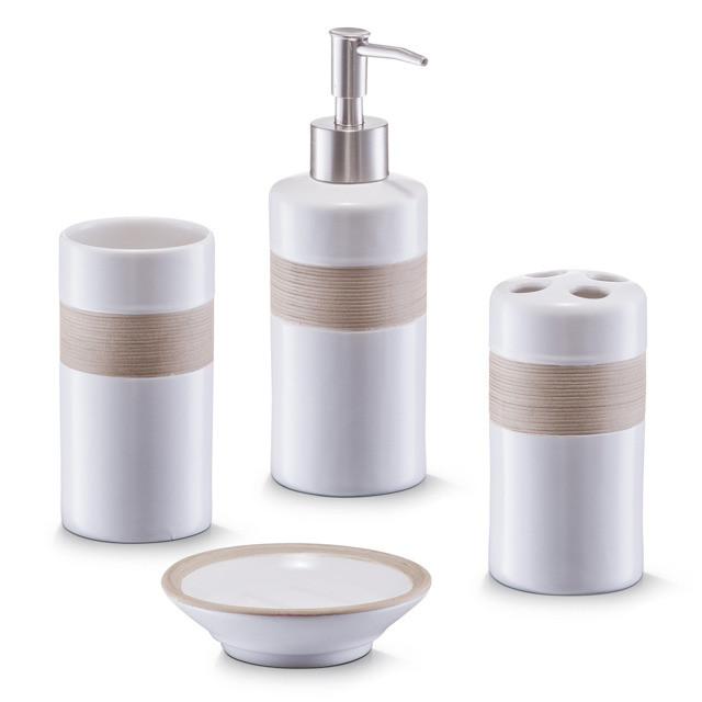 Zeller Seifenspender Zahnputzbecher Badezimmer Zubehor Beige Bad Accessoires Set