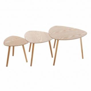 Set aus drei Couchtischen mit abgerundeter Platte kombiniert mit Holzbeinen