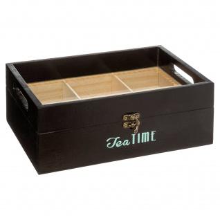 Teebox aus Holz mit Serviertablett, 6 Fächer