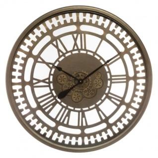 Runde Wanduhr aus Metall, Ø 80 cm, sichtbarer Mechanismus