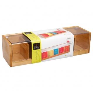 Teekiste, Teehaus aus Holz, Schatulle für Tee - 5 Fächer, Bambus - Vorschau 5