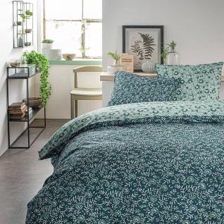 Bettwäsche-Set aus Baumwolle beidseitig, 220 x 240 cm, Pflanzenmotiv