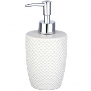 Spender für Flüssigseife, Keramikbehälter mit dekorativer Textur - 380 ml, WENKO
