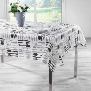 Tischdecke PEVA DINERA, rechteckig, 140 x 240 cm, weiß mit Besteck-Motiv