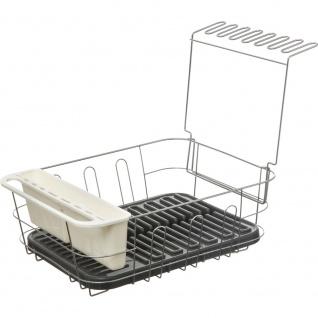 Geschirrtrockner aus Kunststoff und Metall in Grau und Weiß, Abtropfgestell