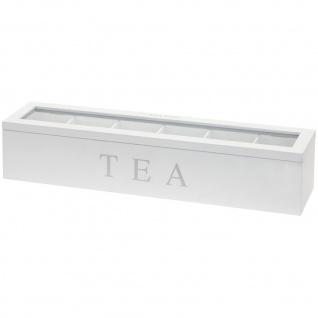 Teebox mit 6 Fächern TEA, Teebehälter, Holz Teekiste mit transparent Glasdeckel, Teekasten, Teebeutelbox, Aufbewahrung 43x9x9 cm