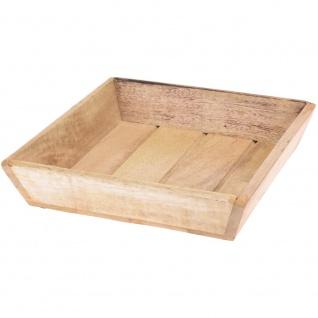 Serviertablett, Dekotablett, Holztablett für Obst, Snacks, Mangoholz 25 x 25 cm