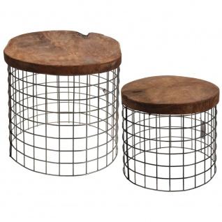 2er Set Couchtische aus natürlichem Teakholz - rund, Kaffee, Designer - Home Styling Collection
