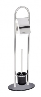 Wenko, Stand WC-Garnitur Atlanta, Edelstahl rostfrei, 28x79x21 cm, glänzend