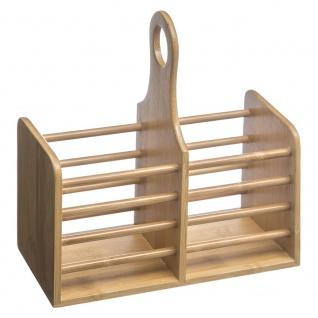 Zweikammer-Besteckbehälter aus Bambus mit natürlicher Farbe praktisch und stilvoll