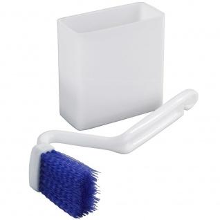 Winkelbürste für WC-Reinigung und Behälter mit Saugnäpfen, Wandgarnitur aus Kunststoff - WENKO
