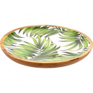 Große Deko-Schale aus Mangoholz, dekorative emaillierte Patera mit Palmblatt-Druck