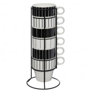 Heißgetränkebecher auf Metallständer, 6 Stück, weiß/schwarz - Secret de Gourmet