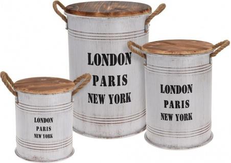 Zinkfässer mit Holzdeckel, Vorratsbehälter - 3 Stück im Set, matt schwarz