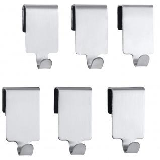 Ein Set von 6 Premium Küchenhaken, WENKO 2 x 4 x 2, 5 cm, silber matt