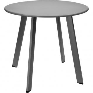 Runder Couchtisch aus Metall im weißen Farbton, moderner Tisch für Wohnzimmer, Garten oder Balkon