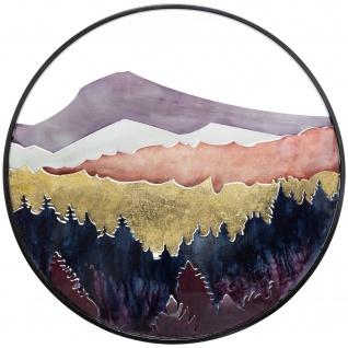 Wanddekoration mit Landschaft, Metall, Ø 60 cm