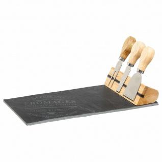 Steinbrett zum Servieren von Käse + 3 Messer auf Ständer, elegantes Küchenset - SECRET de GOURMET