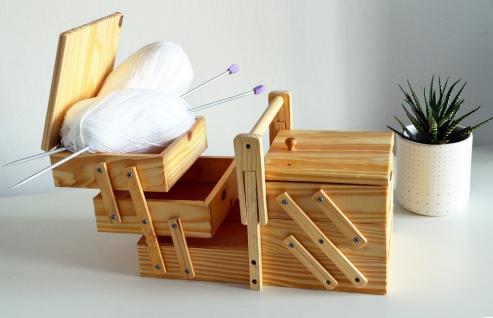 Neu NÄhbox Klappbar - 5 Fächer Nähkästchen Holz Nähkiste Nähkasten - Vorschau 4
